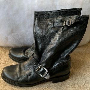 Frye Black Leather Boots Size 10
